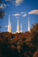 Conquest of the hill (michael.forbes22) Tags: clouds forest trees bluesky foliage fall autumn sunrise goldenhour sunset 50mm18e d3100 nikon composition church mormon temple