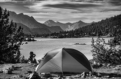 Room with a view (speedcenter2001) Tags: sierranevada sierra highsierra raelakes california johnmuirtrail jmt sierraphile kingscanyonnationalpark nationalpark mountains hiking backpacking backcountry wilderness lake monochrome tent camp campsite view blackandwhite sep2 silverefexpro2 silverefex bigagnes copperspur