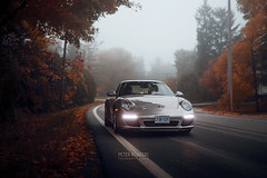 Autumn Drive   Porsche 911 (Peter Nowacki) Tags: porsche porsche911 911 911carrera porschecarrera 997 9972 porsche997 coilovers lowered bcracing fall leaves autumn 50mm sigma 50mmf14 drive trees road fog