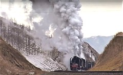 Steam in the Mountains. (Chris the coal.) Tags: qj mongolia steam mountains jingpenge quinlan