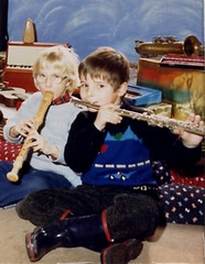 Playing the flute has to be done wearing wellingtons (theirhistory) Tags: boy child kid group class pupils form jumper trousers wellies music wellingtons recorder