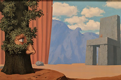 """Mural including """"The Legend of the Centuries"""", Rene Magritte (Joey Hinton) Tags: sanfrancisco california unitedstates rene magritte exhibit museum modern art google pixel2 andriod smartphone cellphone cameraphone phone"""