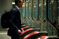 time traveler (claudia 222) Tags: amsterdam rokin metro man people gate noctilux