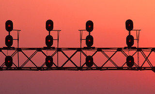C&NW-UP signals, NQ interlocking, Nelson, ILL;