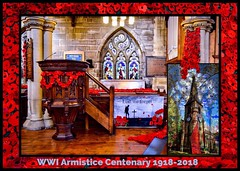 Lest we forget...... (rustyruth1959) Tags: tower spire blend clock wall rememberance architecture glass stainedglass window poster red composite interior religiousbuilding column lestweforget poppies pulpit centenary armistice wwi wwiarmisticecentenary fallingpoppies fallingpoppiesdisplay church stbartholomew'schurch stbartholomew'schurchripponden ripponden calderdale yorkshire tamron16300mm nikond5600 nikon