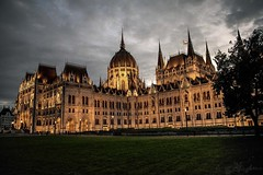Hungarian Parliament at Dusk (danstephen17) Tags: hungary europe parliament gothic architecture autumn budapest pest dusk clouds city grass sky