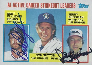 1984 Topps / AL Active Career Strikeout Leaders #716 - Bert Blyleven (Cleveland Indians) (Baseball Hall of Fame 2011) / Jerry Koosman (Chicago White Sox) - Autographed Baseball Card