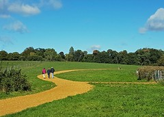 ♫ ♪ We're off to see the Wizard ♪ (john atte kiln) Tags: wizardofoz yellowpath gravel yellow gravelpath landscape womenman autumn fall coats walking trousers grass fields trees sunny paths sky clouds bluesky england britain uk unitedkingdom uptoncountrypark park poole dorset