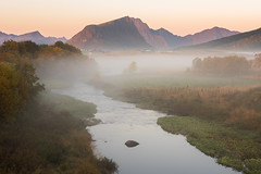 Unfolding Lofoten (Dani℮l) Tags: norway lofted island nature mountain river fog stream flow gentle peaceful quiet tree forest slope europe danielbosma d750 landscape sunrise