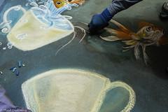 An Artist's Hand (Thad Zajdowicz) Tags: zajdowicz pasadena california usa travel canon eos 5d3 5dmarkiii dslr digital availablelight lightroom outside outdoors chalkfestival carshow ef24105mmf4lisusm street urban city art artist hand sidewalk chalk color blue colour teacup fish