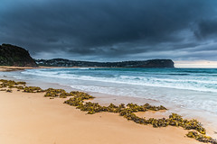 Stormy Seascape and Seaweed (Merrillie) Tags: daybreak sunrise nature water seaweed macmasters centralcoast morning sea newsouthwales rocks earlymorning nsw dawn clouds ocean landscape cloudy waterscape coastal macmastersbeach outdoors seascape australia coast sky waves