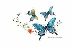 Blaue Schmetterlinge, Print Transfer Applikation, Bügelprints (patchmonkeys) Tags: patch bügelbild applikation aufbügler print schmetterling falter blumen design transfer bügeln heat bügel
