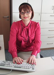 Secretary Marie-Christine (Marie-Christine.TV) Tags: secretary sekretärin pussybowblouse satin blouse schluppenbluse büro office hawescurtis elegant tv tgirl lady mariechristine