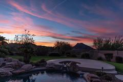 Morning Wonder (Ron Drew) Tags: nikon d850 arizona scottsdale dawn autumn clouds sunrise pool yard mountain sky color desert morning patio