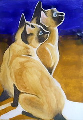 Two cats, by Selma B. - DSC03555-001 (Dona Minúcia) Tags: art painting watercolor study paper animal cat two 2 seated cute homage tribute inspired rereading relecture rachelparker arte pintura aquarela dois gato sentado fofo gracinha homenagem releitura inspirado