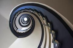 The blue line (Elbmaedchen) Tags: staircase stairwell stairs steps stufen treppenhaus treppenauge treppe treppenaufgang spirale schnecke blau blue bleu escaliers escaleras architektur architecture interior roundandround upanddownstairs kurvig curves line