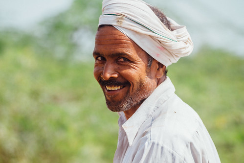 Smiling Man in Turban, Uttar Pradesh India