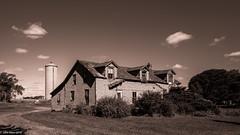 THREE DORMERS :::: Hear no evil, speak no evil, see no evil (John E. Allen) Tags: leicaq johnallen leica monochrome sepia farmhouse illinois farms dormers houses blackwhite