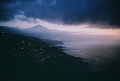 Tenerife (kunderwet) Tags: sea ocean landscape 35mm analogue water sky bay mountain teide tenerife canary canarias spain konicahexaraf night