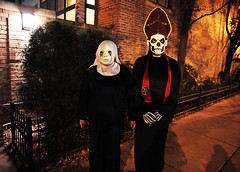 The Horror (kirstiecat) Tags: blood costume halloween happyhalloween spooky creepy frightening strange masks religion nun priest fiction street portrait fright scary horror canon dark chicago night