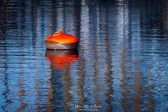 In the port (Mimadeo) Tags: buoy buoys mooring harbor port float water old big mine bermeo orange reflection reflections blue
