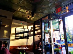 We Had Dinner Early (MPnormaleye) Tags: dining dinner restaurant window address numbers entrance table chairs taxi nyc manhattan utata