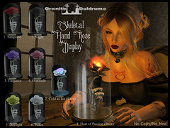 Skeletal Hand Rose Gacha Ad (Gravely Matters) Tags: skeletal hand rose gacha graves ginblosom granite doldrums sl second life rares commons fire flame