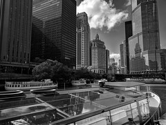 Glass (ancientlives) Tags: chicago illinois il usa travel trips river chicagoriver riverwalk riverboat rivercruise glass reflections trumptower downtown loop clouds bluesky sunshine weather humid warm towers buildings skyline skyscrapers city cityscape offices mono monochrome blackandwhite bw tuesday october 2018 autumn contrast shadows