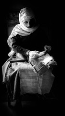 Woman working Wool (Barry.Turner.Photography) Tags: barry turner weaving wool medieval singleton chichester mono black white lightroom sony a65 wealdendownland niksoftware sigma