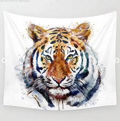 Tiger Head watercolor Wall Tapestry (marianv2014) Tags: tiger tigers animal animals animalart wildanimal wildanimals face wildlife animalsofprey watercolor watercolour wallart walldecor tigerdecor tigerposter tigerwallart bengaltigers roomdecor orange green yellow artgifts affordableart wildcreature head heads fineart carnivores cat cats bigcat bengaltiger splashes splatters squareformat moderndecor illustration artwork art colorful beautiful whitebackground contemporary zoology single decor tapestries