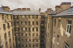 Saint-Petersburg. Typical city centre. (Khuroshvili Ilya) Tags: saintpetersburg city streets outdoors facade buildings architecture windows roofs sky clouds yard urban old retro historic walls autumn