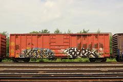 Kemos, Sape (NJphotograffer) Tags: graffiti graff trackside railroad rail art freight train bench benching box car boxcar kemos mayhem crew sape4 sape 4 2wcrew 2w