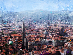 Bologna (http://www.agatti.com) Tags: italy italian italia emilia bologna medieval defensive two towers torri asinelli garisenda duetorri basilica sanpetronio hills site old place ancient historical architecture building monument dome cupola landmark landscape scape view panorma scene scenery vista city town urban outdoor sky cloud light digital painting texture layers impression surreal realism splatter stains spots drip dripping brush stroke red rosso blue