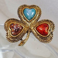 Natural Stone Shamrock Brooch. Agate and Glass Stones Lucky Clover Pin. Irish Shamrock Brooch. waalaa. (waalaa) Tags: etsy vintage antique shopping jewelry jewellery gifts wedding