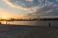 Odaiba sunset (tokyobogue) Tags: tokyo japan odaiba nikon nikond7100 d7100 tamron tamron1024mmdiiivc beach sunset rainbowbridge water sand clouds hdr