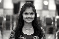 smile (Rajavelu1) Tags: smile girl lady indian bokeh depthoffield handheldnightphotography portraitphotography portrait blackandwhitephotography handheld availablelight highiso art creative
