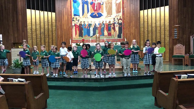 2nd Grade practices Rosary