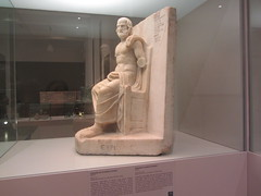 Statue of Euripides, CaixaForum, Madrid (d.kevan) Tags: exhibitions caixaforum ancientinstruments displaycabinets june2018 madrid spain exhibits statues playwrite greek euripides sculpture greekscript