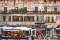 Before the romance turned to drama... (petrapetruta) Tags: italy verona balcony italian piazzetta colorful