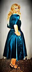 petrol ballgown (Martina H.) Tags: blonde girl woman dress gown party cocktail ball petrol elegant bauty evening satin