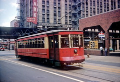CTA 144 on Dearborn at Lake St 5-25-58 (jsmatlak) Tags: chicago cta csl surface lines transit rapid train tram streetcar trolley