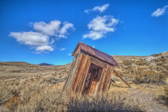 Crooked Outhouse (Michael F. Nyiri) Tags: california bodiestatehistoricpark bodieghosttown outhouse building weathered antique