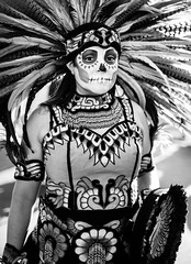 The Last Battle (Jeremy Beckman) Tags: blackandwhite dayofthedead riversideca skull portrait lacalaveracatrina costume facepaint feather warrior headdress strong tradition woman