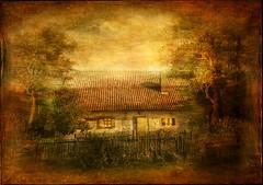 Little cottage in fairy tale. (BirgittaSjostedt) Tags: cottage fence landscape texture paint art fineart idyllic tree faitytale sun sunny