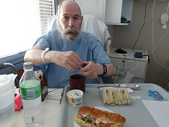 21Sep18 Today I had lunch with my favourite dinner mate, Rod. He had sandwiches and ice cream, I had leftover subway from yesterday's lunch. He looks a bit like George Carlin in this piccy. #2018pad #lunch #hospitalfood #cancersucks (FlitterG) Tags: ifttt instagram