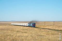 Mongolian gobi desert... (N.Batkhurel) Tags: season sky autumn locomotive landscape gobi diesellocomotive dornogobi passengertrain passenger 2te116um ubtz 1520 mongolia monrailpic ngc nikon nikondf nikkor 24120mm
