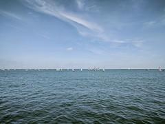 Sailing (ancientlives) Tags: chicago illinois il lakemichigan lakefronttrail lakeshore dinghies sailing yachts boats yachtclub horizon bluesky clouds sunshine water sunday october 2108 autumn walking landscape city