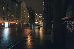 Saint-Petersburg. Walking away (Khuroshvili Ilya) Tags: saintpetersburg night raining reflection people umbrella street urban city lights weather autumn facade buildings old
