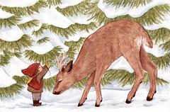 Deer (EmblaEster) Tags: art illustration drawing painting childrens elf christmas nature snow cute whimsical animal deer horns glitter forest trees