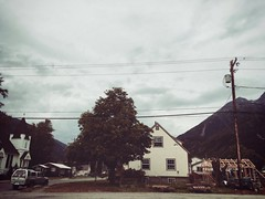 random skagway [gasing up] (i threw a guitar at him.) Tags: 2018 skagway alaska outside outdoor town home house city church presbyterian neighborhood residential arch architecture building iphoneography iphone sky clouds cloudy